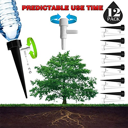 DCZTELG Plant Watering Spikes Predictable use time Devices System-Vacation Automatic Drip Irrigation Watering Care Your Flower Travel Forgetting Potted Plants Black&White (Plant Watering System)
