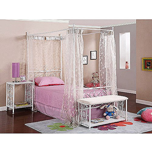 Canopy Wrought Iron Princess Bed, Multiple Colors White (Wrought Iron White Furniture Bedroom)