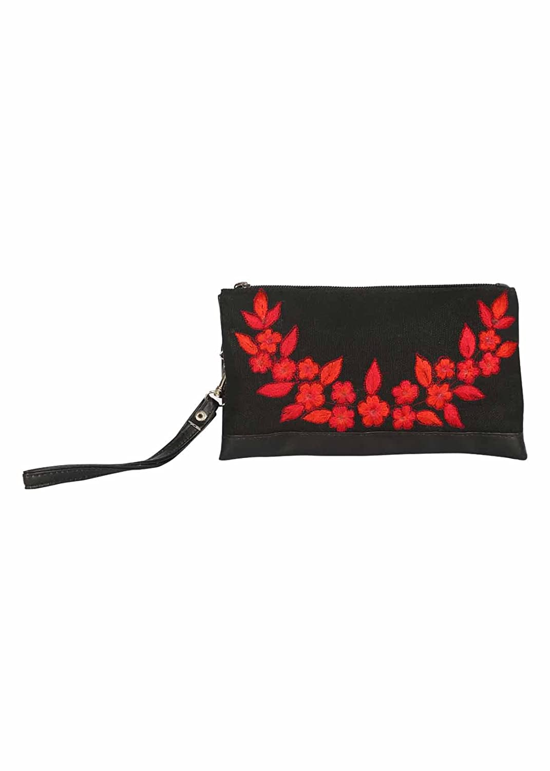 Pick Pocket black canvas wristlet with red embroidery