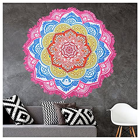 Mandala Round Lotus Beach Throw Tapestry Blanket Rug Cotton Tablecloth Beach Towel , Floral Circle Design/Shape 59