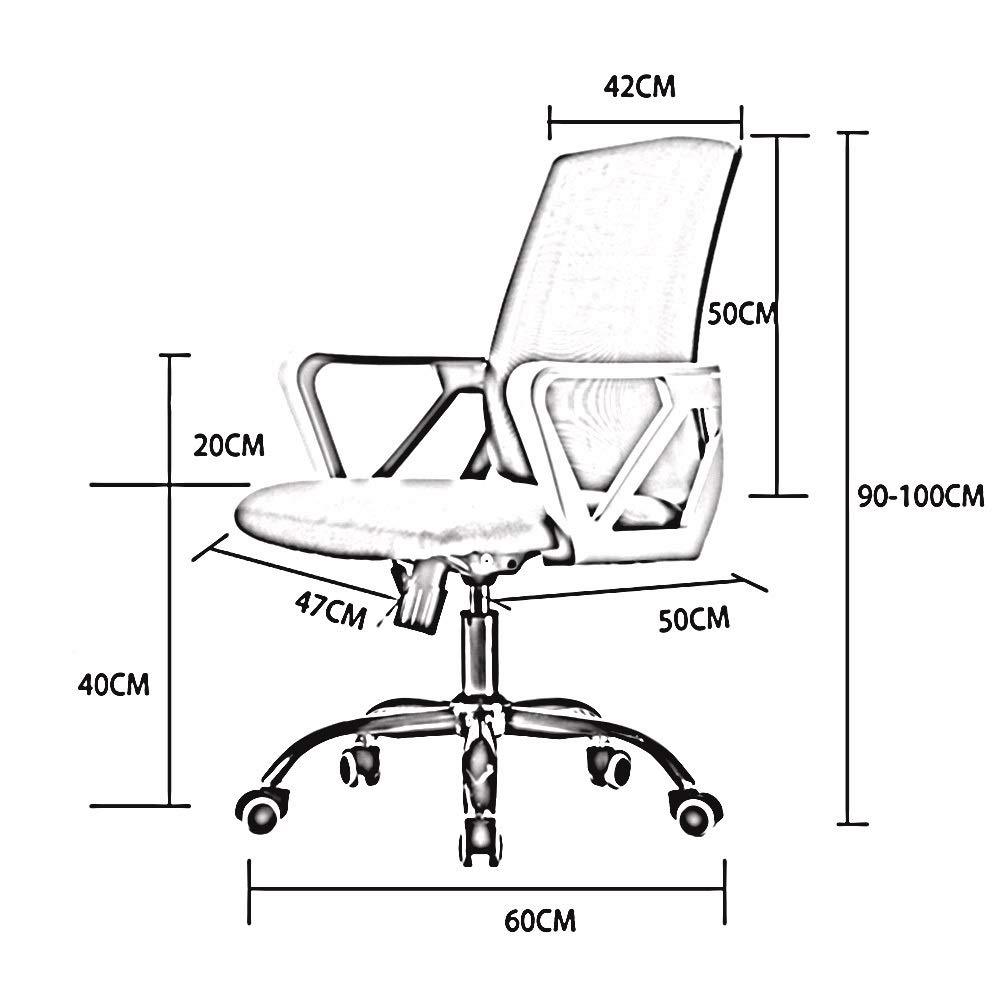 WYY HPLL kontorsstol nät lyft svängbar stol, femstjärnigt stål fot hushåll arbetsrum företag kontor dator stol ryggstöd personal 360° vridbar svängbar stol (färg: G) e