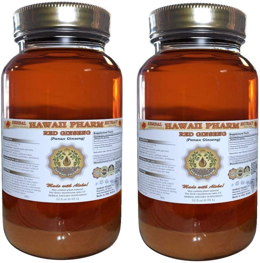 Red Ginseng Liquid Extract, Organic Red Ginseng Panax Ginseng Tincture, Herbal Supplement, Hawaii Pharm, Made in USA, 2×32 fl.oz