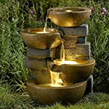 Relaxation Fountain Garden Water Indoor Outdoor Antique Waterfall