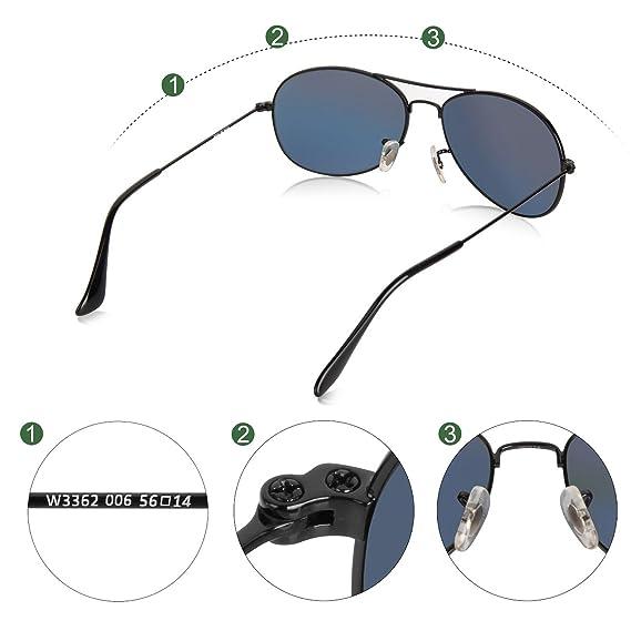 Wenlenie Aviator Sonnenbrille Herren Schwarz, Sonnenbrille Damen Herren Kleines Gesicht, Metallrahmen Glaslinse UV-Schutz W3362 Aviator Shades