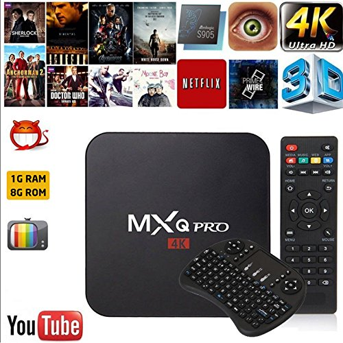 Cewaal AU Plug Smart TV Box, Android 6.0 Amlogic RK3229 1GB+8GB Quad Core Network WiFi 1080P HD 4K Smart TV Box Media Player +I8 Keyboard for MXQ Pro by Cewaal