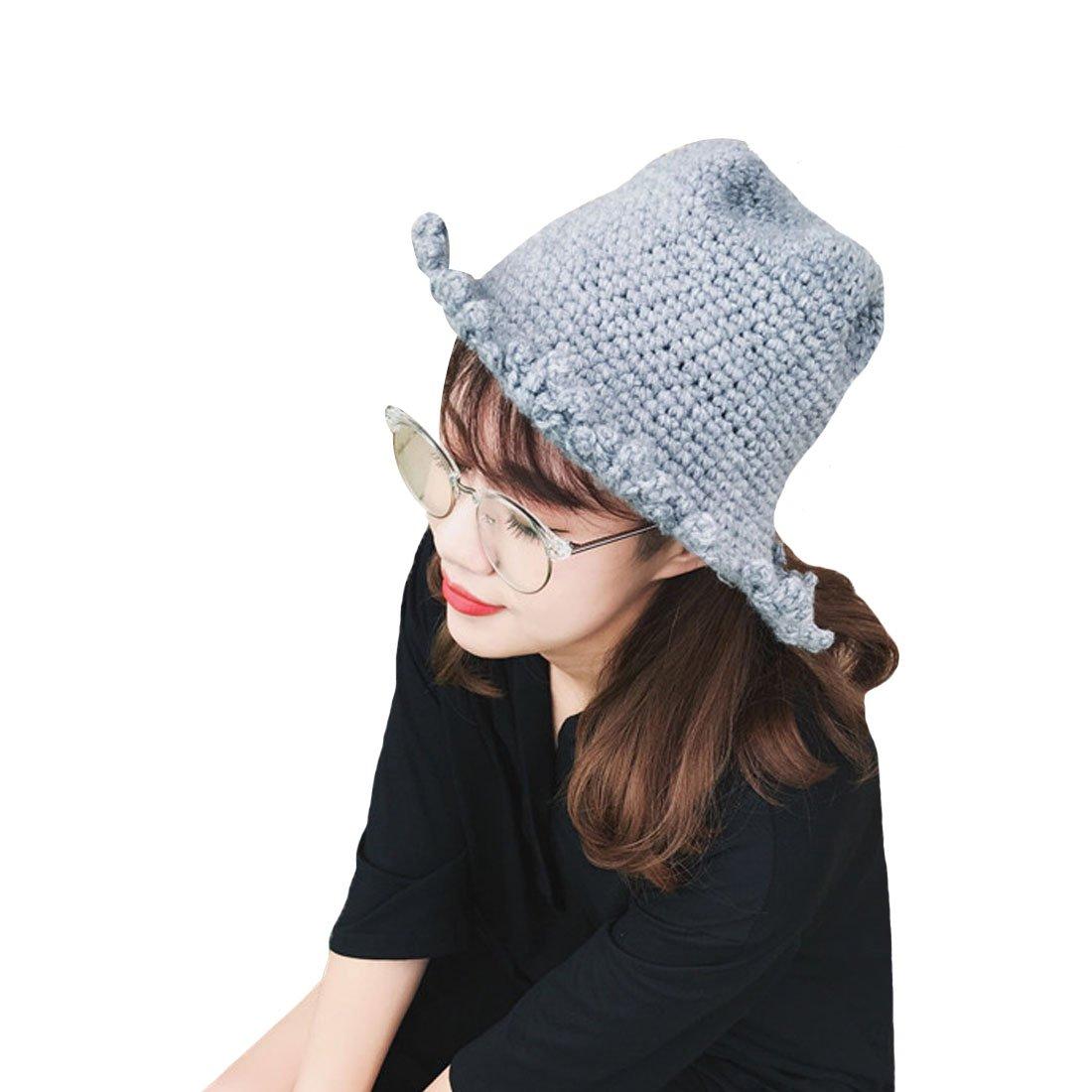 478a66624cf Gray Knit Wool Cap Girl Hat Autumn Winter Thicken Warm Fisherman Hat Cap  Bucket Hat Outdoor Caps at Amazon Women s Clothing store