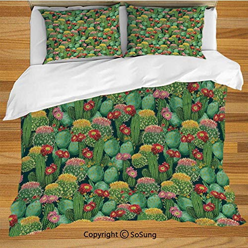 - Nature Decor Queen Size Bedding Duvet Cover Set,Garden Flowers Cactus Texas Desert Botanic Various Plants with Spikes Pattern Decorative 3 Piece Bedding Set with 2 Pillow Shams,Multicolor