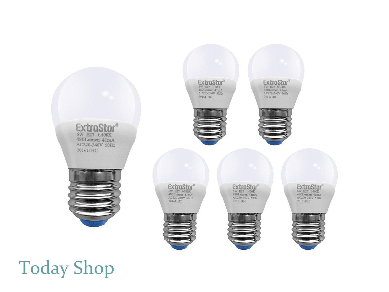 Bombillas Led E27, 6 W-48 W, luz blanca fría de 6400 K, 480 lúmenes, casquillo pequeño, 6 unidades [Clase de eficiencia energética A +]: Amazon.es: ...