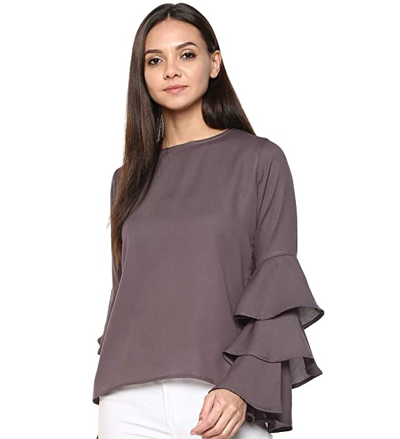 76b818fd118 indietoga Women s Grey Georgette Top (Bell Sleeve Plus Size XS to ...