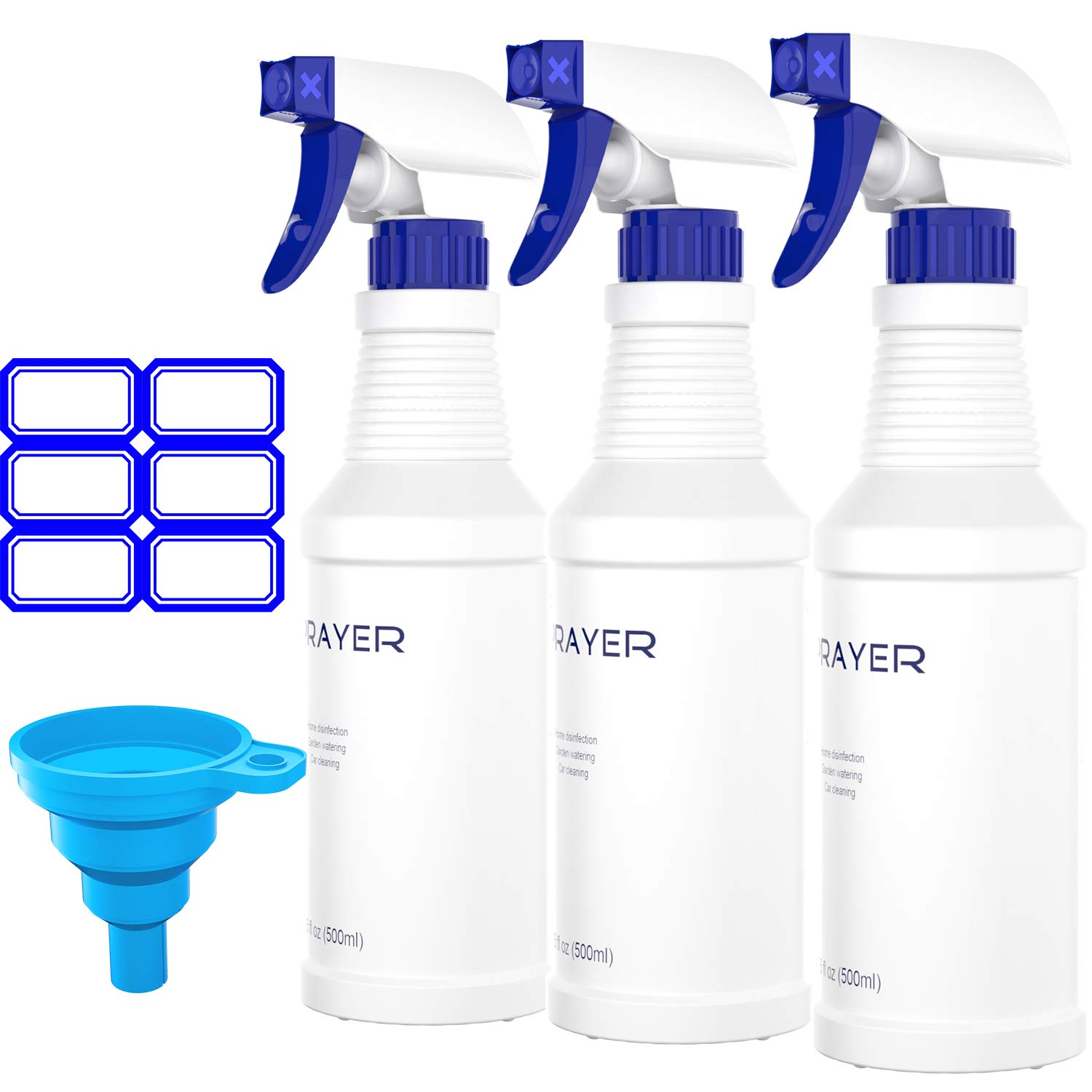 Spray Bottles for Commercial Cleaning Solutions(3 Pack,16 Oz), Professional Heavy Duty Plastic Empty Spray Bottle with Adjustable Nozzle and Measurement for Household, Garden, Car Cleaning