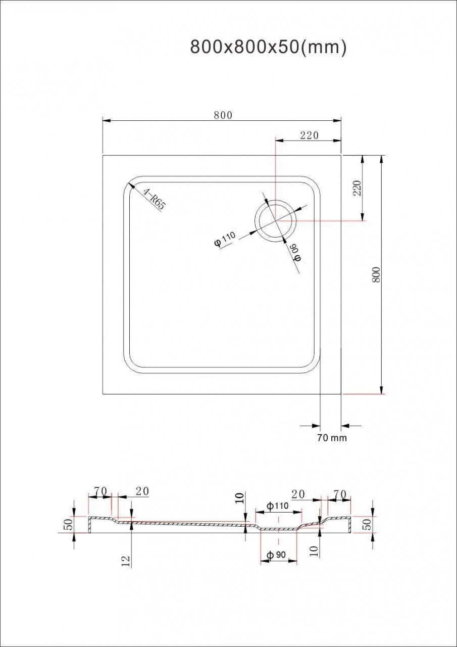 Receveur de douche plat 80 x 80 cm // /épaisseur 50 mm salle de bain. bac /à douche blanc acrilique BuyLando