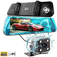 T-Tek Ultra HD 1080P Front + 720P Rear 140° Wide Angle Anti-Glare Rearview Mirror Dual Lens Dash Cam with IPS 5 Screen, Superior Night Mode, Advanced Dashcam Parking Mode, Support 32GB