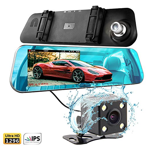 T Tek Ultra Hd 1080P Front   720P Rear 140  Wide Angle Anti Glare Rearview Mirror Dual Lens Dash Cam With Ips 5  Screen  Superior Night Mode  Advanced Dashcam Parking Mode  Support 32Gb