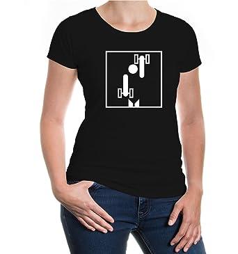Girlie T-Shirt Hanteltraining-Piktogramm-XS-Black-White