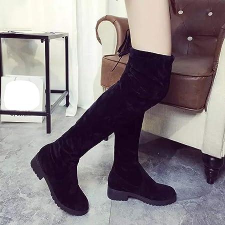 Zapatillas de Mujer Botas Altas con Cordones y Punta Redonda para Mujer Botas sobre Rodilla Tacones Altos Zapatos de tacón Alto con Lentejuelas de Botas largas Zapatos de Mujer BaZhaHei