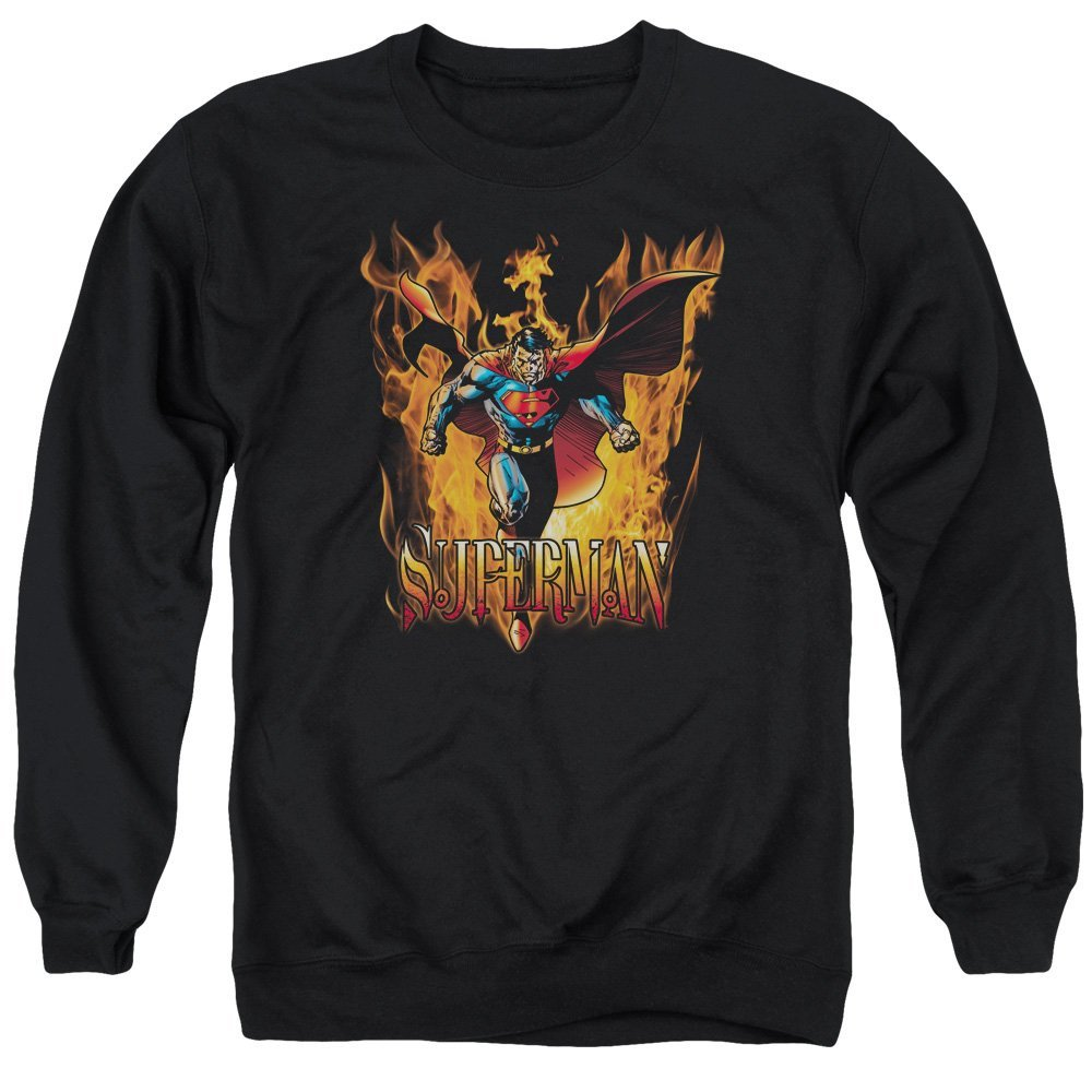 Superman Through The Fire Adult Crewneck Sweatshirt