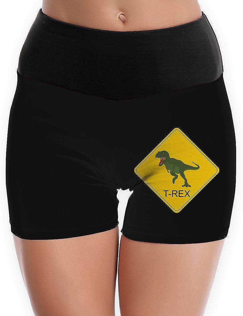 Womens Yoga Shorts T-rex Crossing Road Sign-1 Athletic Sports Shorts