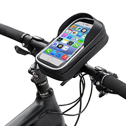 b5ba3df457a Amazon.com   RockBros Bike Phone Case Waterproof Bicycle Phone Mount Bag  Touch Screen Handlebar Phone Holder Pouch for Cellphone Below 6.0 Inches    Sports   ...