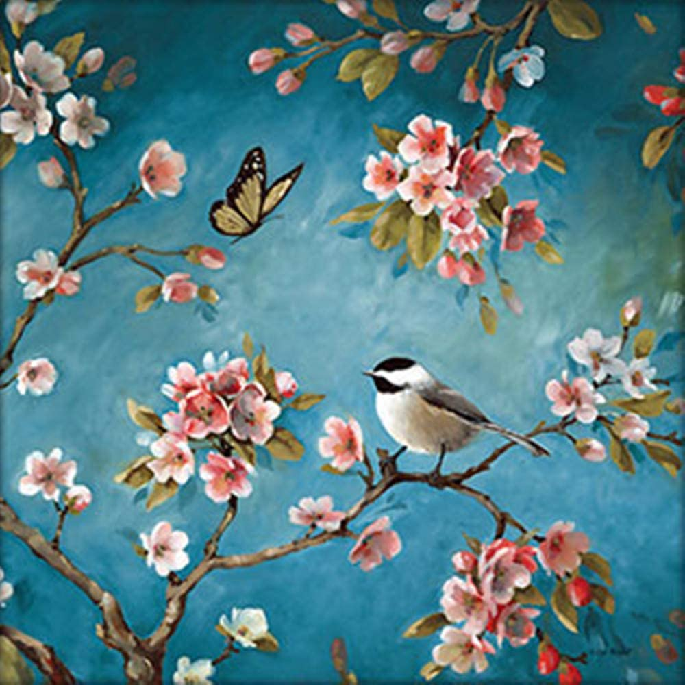 """DIY 5D Diamond Painting by Number Kit for Adult, Full Drill Diamond Embroidery Dotz Kit Home Wall Decor-15.7x15.7"""" Bird and Tree"""