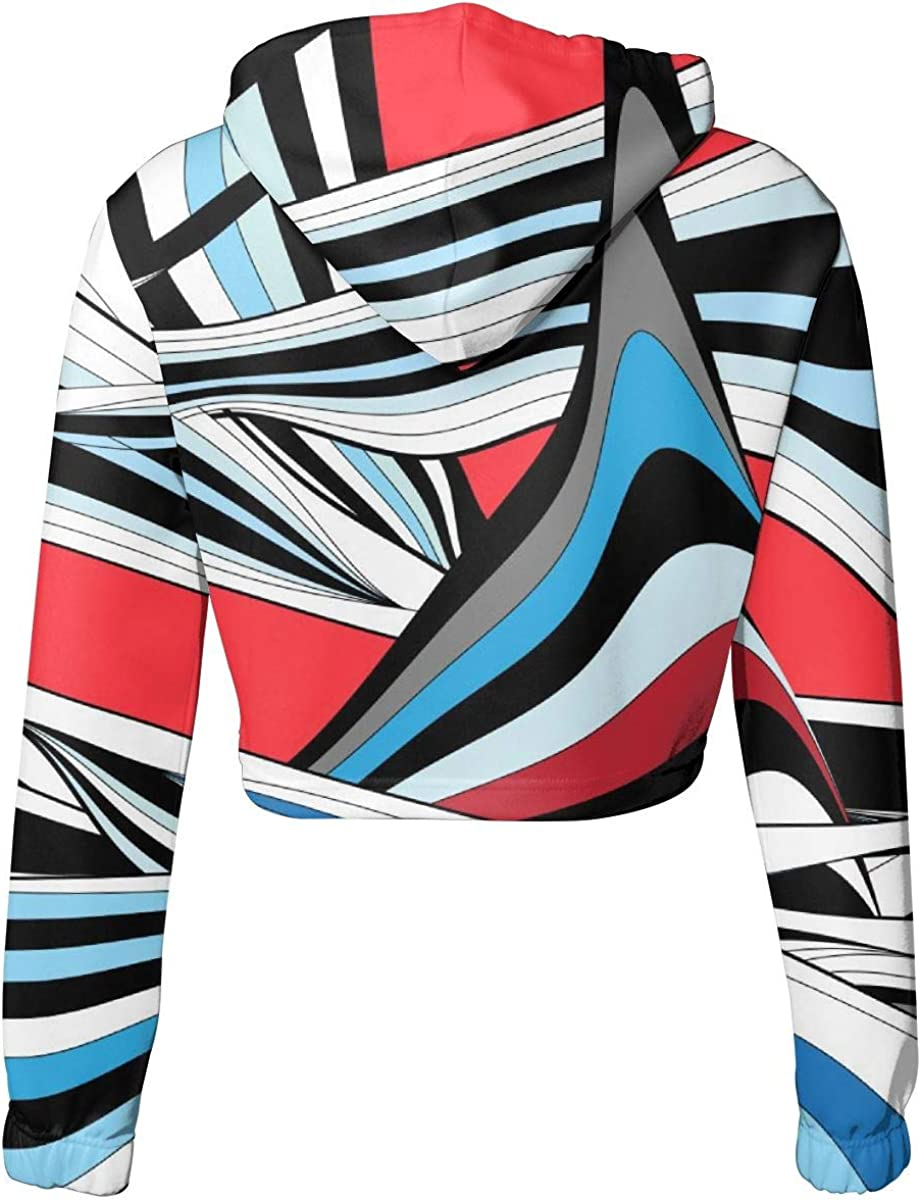 Womens Hoodie Sweater Abstract Shapes Crop Top Sweatshirt Lumbar Sweatshirt Cropped Hoodie