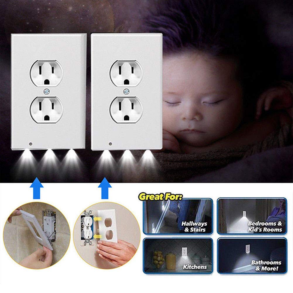 Wall Outlet Cover plate Plug Cover With LED Lights Hallway Bathroom (2 Plug, White)