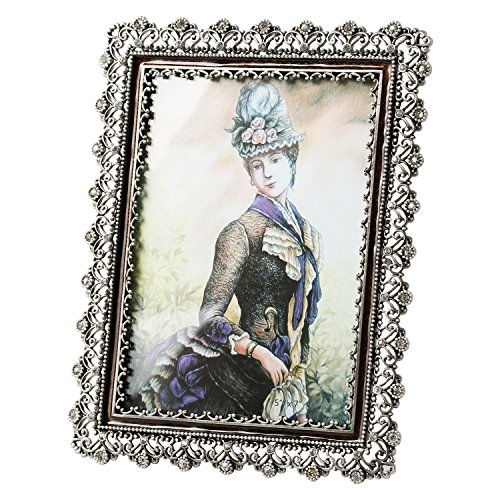 WorldWide Selection Home - Metal Photo Frame/Picture Frame, 4 x 6 inch, Real Clear Glass Front Cover, Vintage European Retro Style, Zinc Patina Plated, Tabletop Horizontally or Vertically