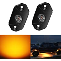 4WDKING Amber LED Rock Lights, 2 Pods IP68 Waterproof Underbody Glow Trail Rig Lamp LED Neon Lights for Truck Jeep Off…