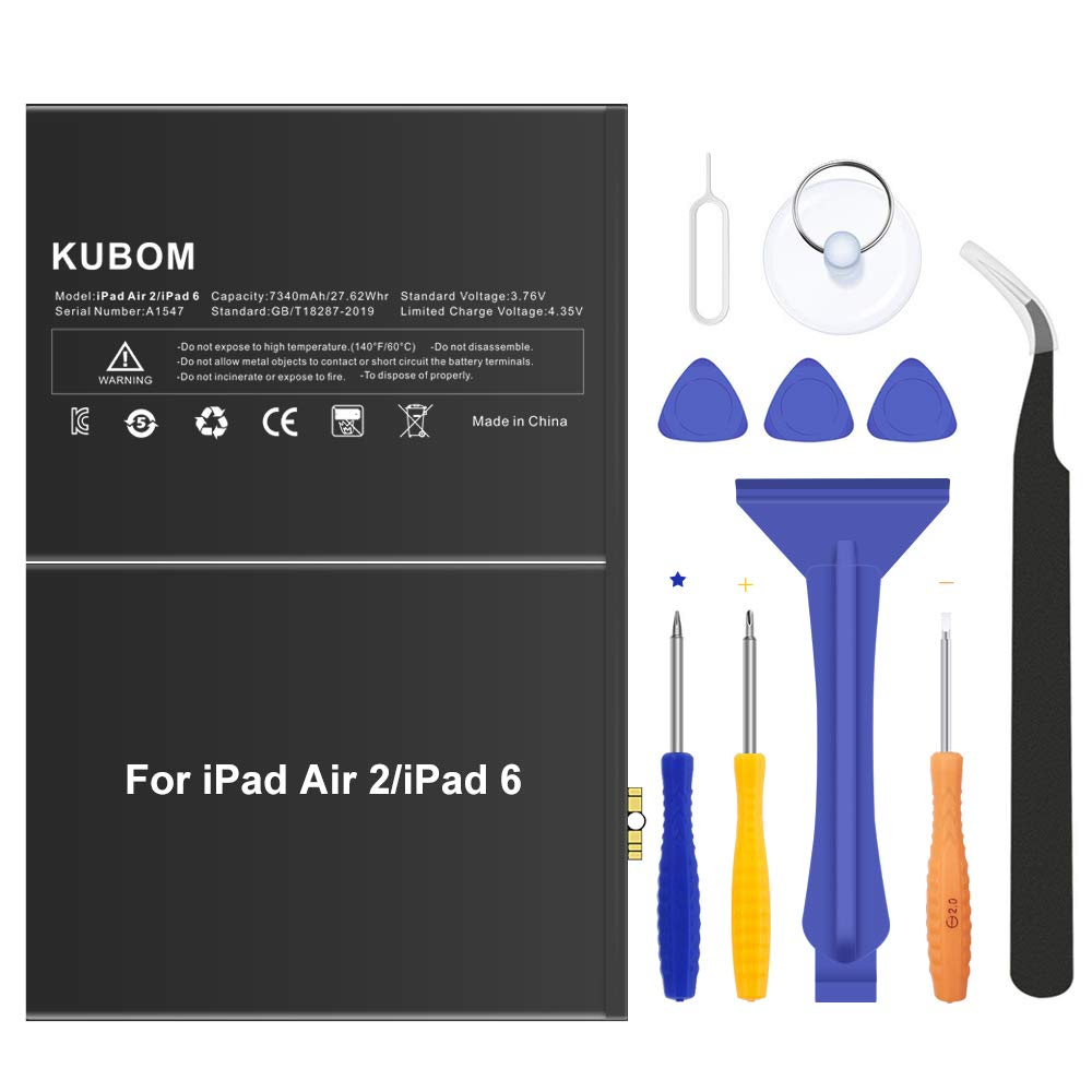 KUBOM Replacement Battery for iPad Air 2 or iPad 6, Full 7340mAh 0 Cycle Battery - Include Complete Repair Tool Kits [ 18-Month Warranty]