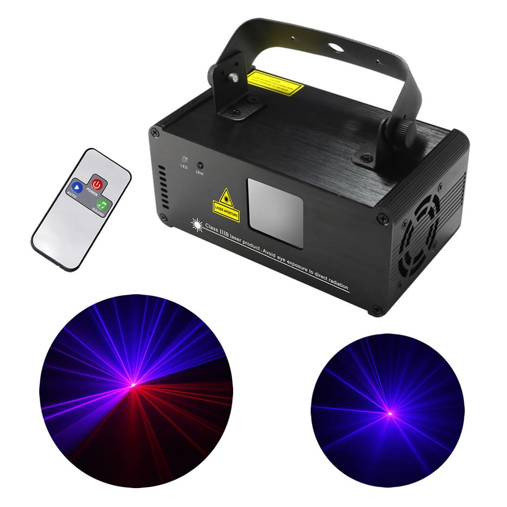 Mini IR Remote DMX 512 Red Blue Pink Mixing Effect Color Stage Lighting DJ Dance Party Home Show Projector Lights ADM-RBP300