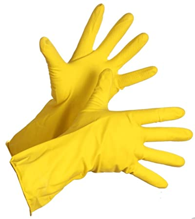 Vapok Rubber Hand Gloves for Washing Cleaning Kitchen and Garden Hand Care Household Yellow Rubber Gloves Large Size