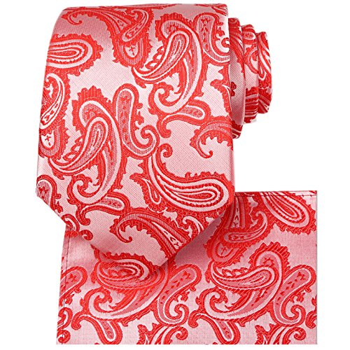 KissTies Mens Tie Set: Coral Red Paisley Necktie + Pocket Square