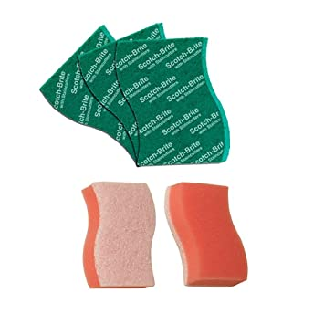 Scotch-Brite Non Scratch Sponge (Pack of 2) and Scrub Pad Large (Pack of 3)