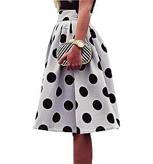 f482b56131b91e Rcool Röcke Damen Sommer Frauen Vintage Retro Blumendruck Knielangen Elastische  Taille A-Line Rock Strand