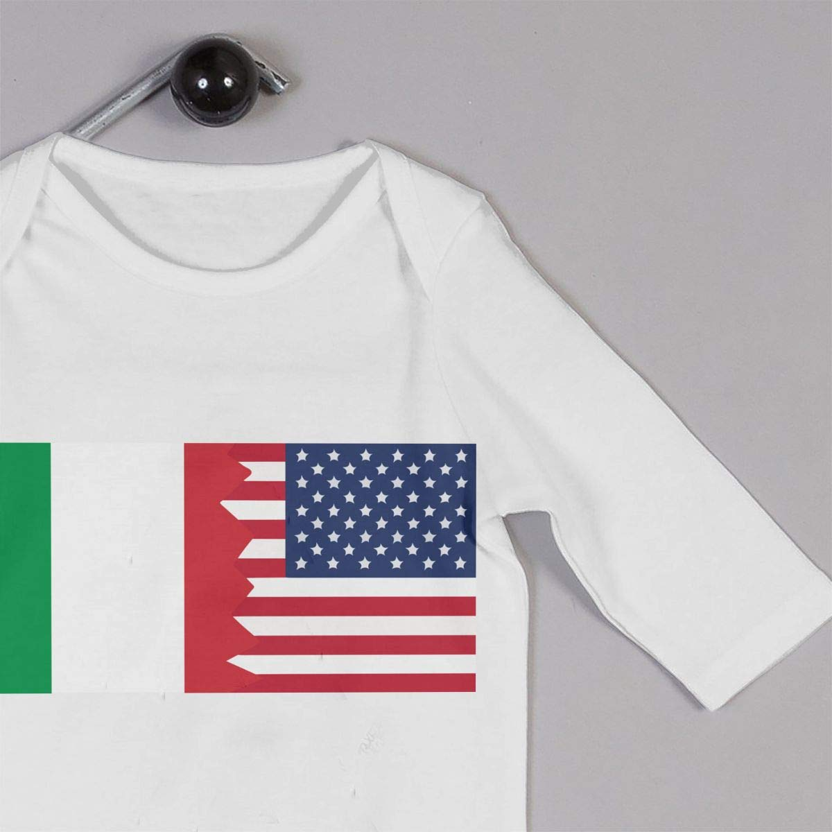 A1BY-5US Baby Infant Toddler Cotton Long Sleeve Italian USA Flag Climb Romper Funny Printed Romper Clothes