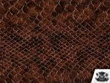 Vinyl Snake VOILA BROWN Faux / Fake Leather Upholstery Fabric By the Yard