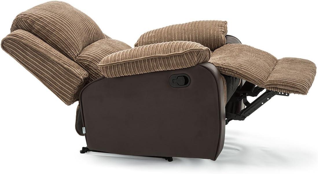 POSTANA Jumbo Cord Fabric Recliner Armchair Lounge Home Reclining Chair (Brown)