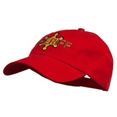 4fd0bbc4c75 E4hats Sheriff Badge Embroidered Low Profile Cap - Red OSFM at ...