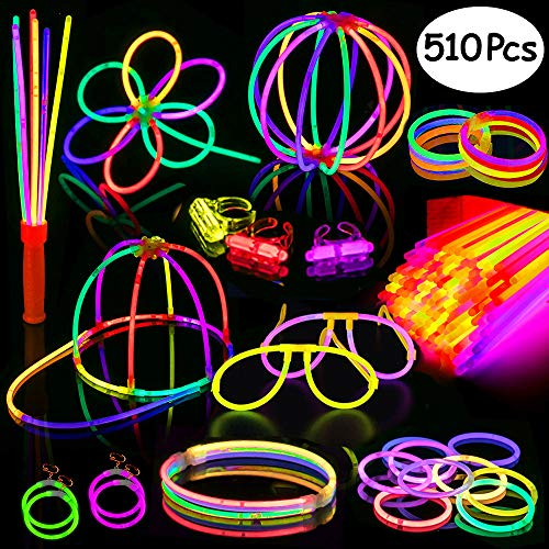 Glow Sticks,200 8 Glow Sticks 510PC Glow Party Supplies Favors Connectors for Glow Caps/Ear Rings/Finger Rings/Necklaces/Bracelets/Flowers/Balls with Glow Divergence Bars