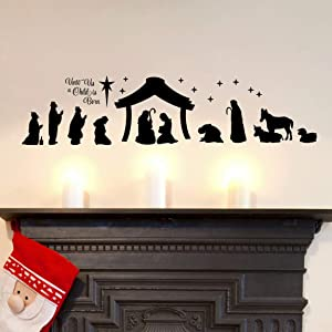 DXLING Large Christmas Nativity Scene Wall Decor Stickers Unto Us a Child is Born Nativity Vinyl Wall Decal - Christian Decor Mural YA296 (Black)