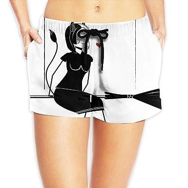 2f0489acaf Cute Halloween Beautiful Broom Devil Witch Summer Gym Beach Dresses Women  Girl Shorts Swim Trunk Casul