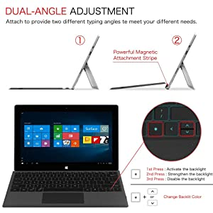 Fintie Microsoft Surface Pro 6 Type Cover, [7-Color Backlit] Ultra-Slim Portable Wireless Bluetooth Keyboard with Rechargeable Battery and Trackpad, Compatible with Pro 5 / Pro 4 / Pro 3 (Black) (Color: Black)