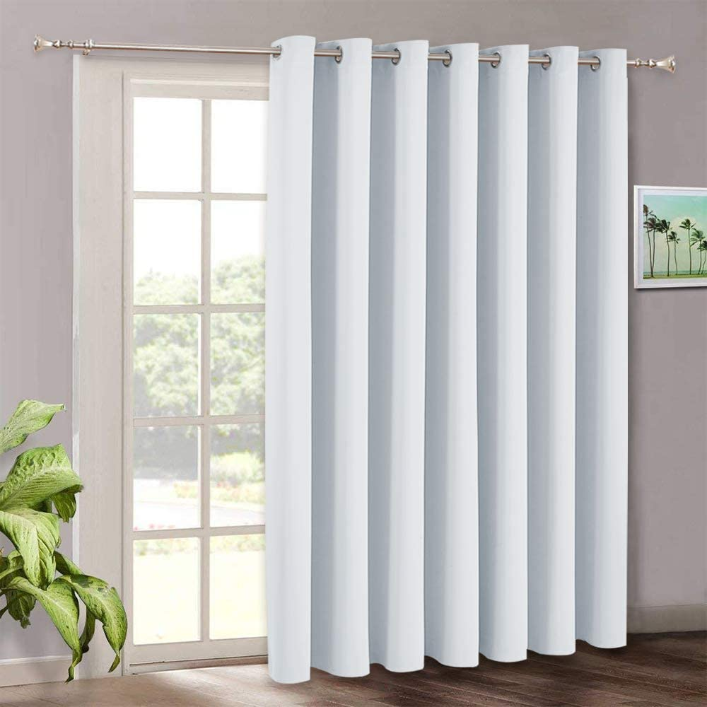 Room Darkening Bedroom Curtains Vertical Blinds For Sliding Glass Door Thermal Insulated Curtain Panel For Patio Door Dining Window Closet 100 W X 84 L Grayish White Kitchen Dining
