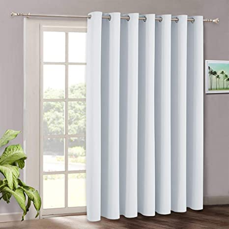Amazon Com Room Darkening Bedroom Curtains Vertical Blinds For Sliding Glass Door Thermal Insulated Curtain Panel For Patio Door Dining Window Closet 100 W X 84 L Grayish White Kitchen Dining