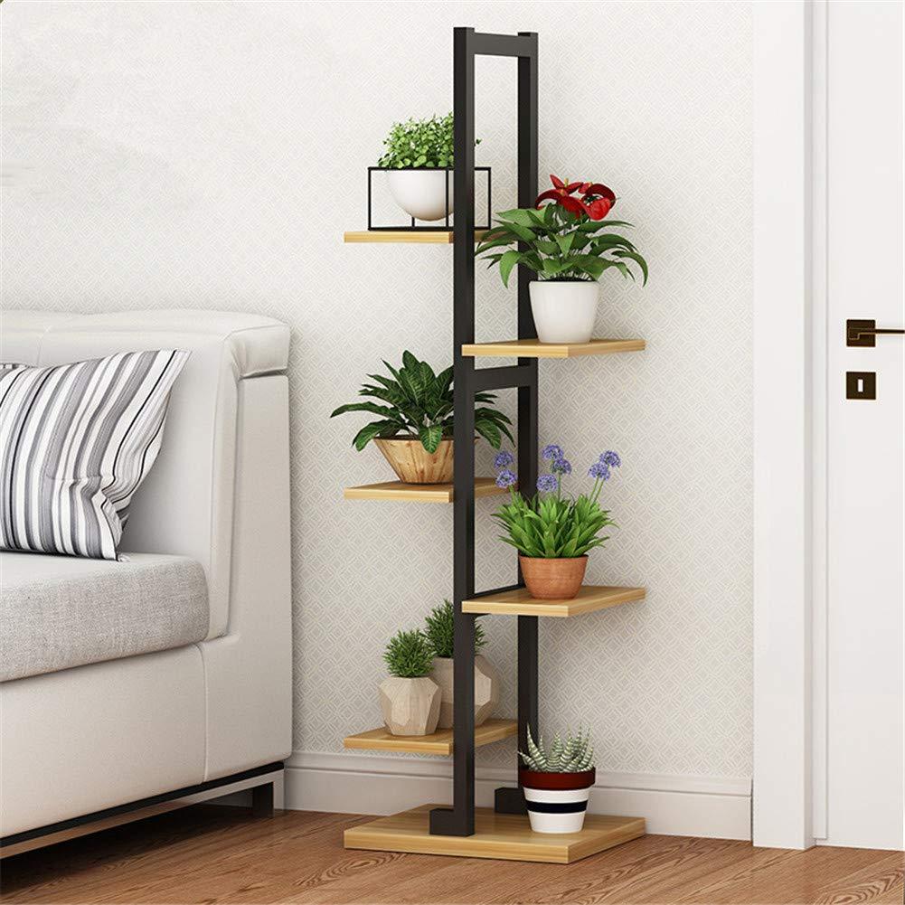 RYFS Moderne Multi-Layer Eisen H/ölzerne Blumenregale,Wohnzimmer Balkont/ür Multi-funktions Flower Pot Rack Display lagerregal-A