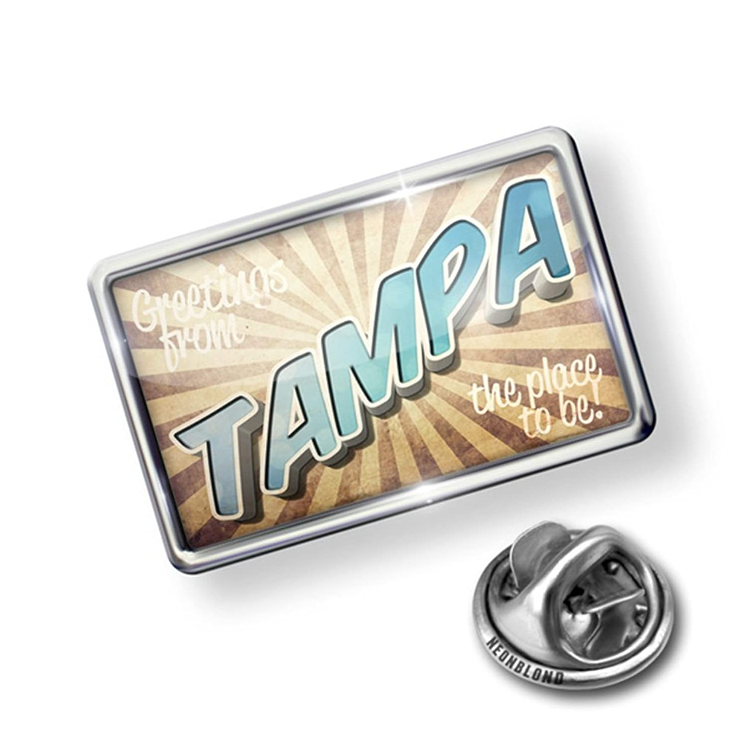 Pin Greetings from Tampa, Vintage Postcard - Lapel Badge - NEONBLOND
