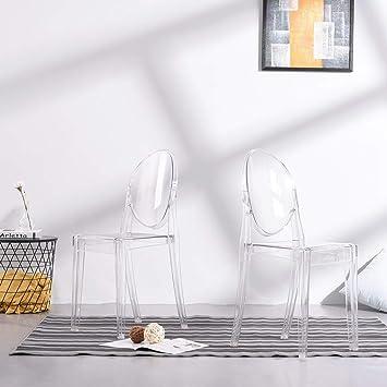 Anaelle Pandamoto Lot De 2 Ghost Chaises En Acrylique Polycarbonate Pour Salle A Manger Salon Bureau Restaurant Et Jardin Taille 91 35 48cm