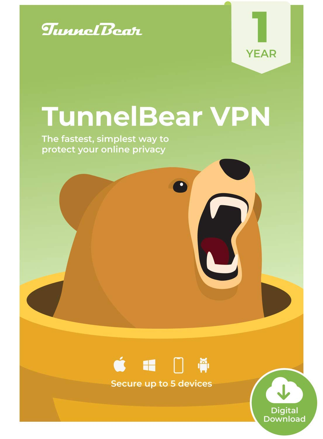 TunnelBear VPN|Wifi and Internet Privacy|5 Devices|Unlimited Data|1 Year [PC Online code] by TunnelBear LLC