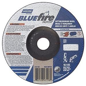 "Norton Blue Fire Plus Fast Cut Depressed Center Abrasive Wheel, Type 27, Zirconia Alumina and Aluminum Oxide, 7/8"" Arbor, 6"" Diameter x 1/8"" Thickness (Pack of 20)"