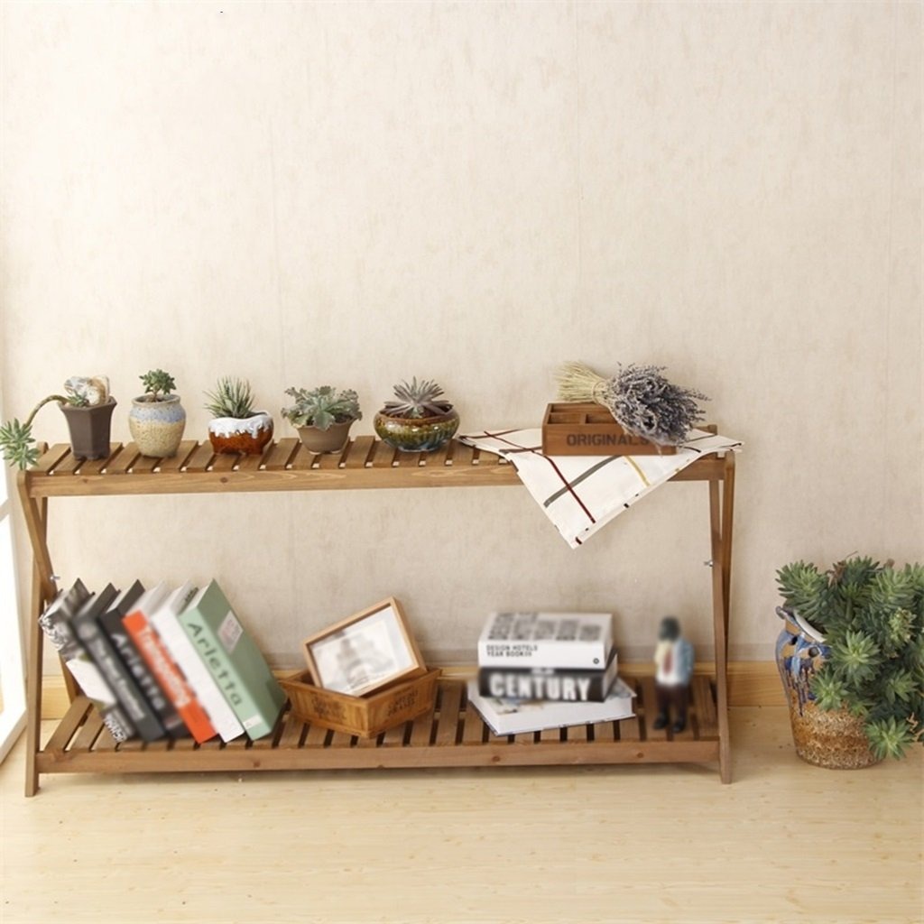 CSQ Two Wooden Shelves, Simple Solid Wood Flower Stand Shelf Multifunction Succulent Plants Decoration Toy Books Bedroom Living Room Balcony Flower Shelf by Flowers and friends (Image #4)