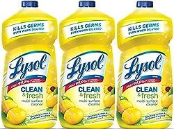 Lysol Clean & Fresh Multi-Surface Cleaner, Lemon, 120oz (Pack of 3X40oz)